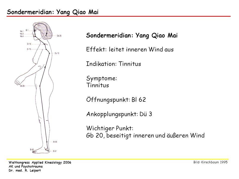 Weltkongress Applied Kinesiology 2006 AK und Psychotrauma Dr. med. R. Leipert Sondermeridian: Yang Qiao Mai Effekt: leitet inneren Wind aus Indikation