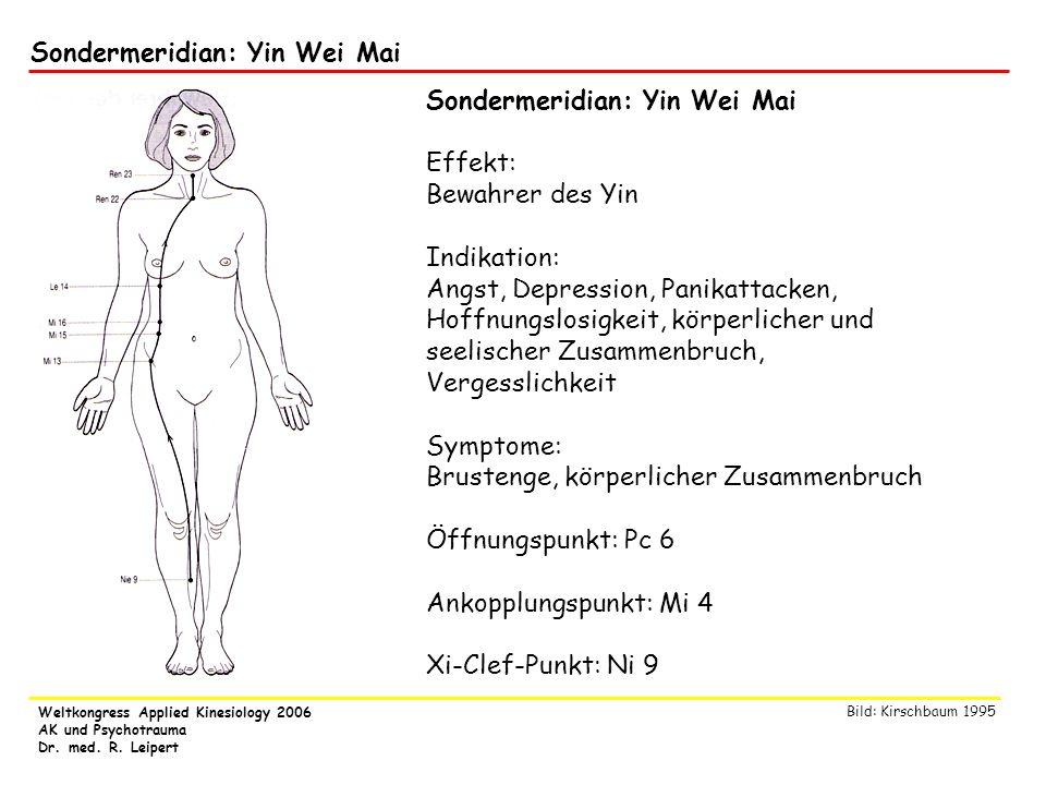 Weltkongress Applied Kinesiology 2006 AK und Psychotrauma Dr. med. R. Leipert Sondermeridian: Yin Wei Mai Effekt: Bewahrer des Yin Indikation: Angst,