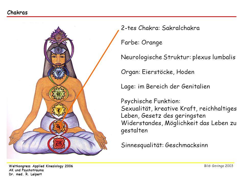 Weltkongress Applied Kinesiology 2006 AK und Psychotrauma Dr. med. R. Leipert Chakras 2-tes Chakra: Sakralchakra Farbe: Orange Neurologische Struktur: