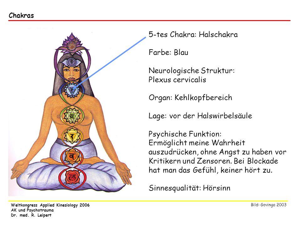 Weltkongress Applied Kinesiology 2006 AK und Psychotrauma Dr. med. R. Leipert Chakras 5-tes Chakra: Halschakra Farbe: Blau Neurologische Struktur: Ple