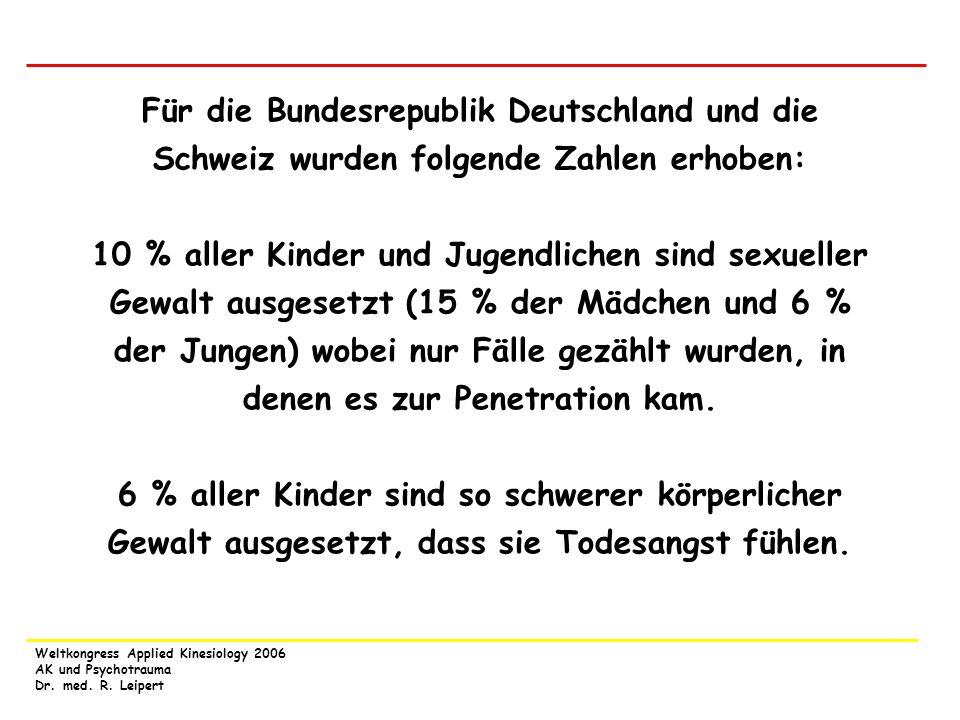 Weltkongress Applied Kinesiology 2006 AK und Psychotrauma Dr. med. R. Leipert Für die Bundesrepublik Deutschland und die Schweiz wurden folgende Zahle