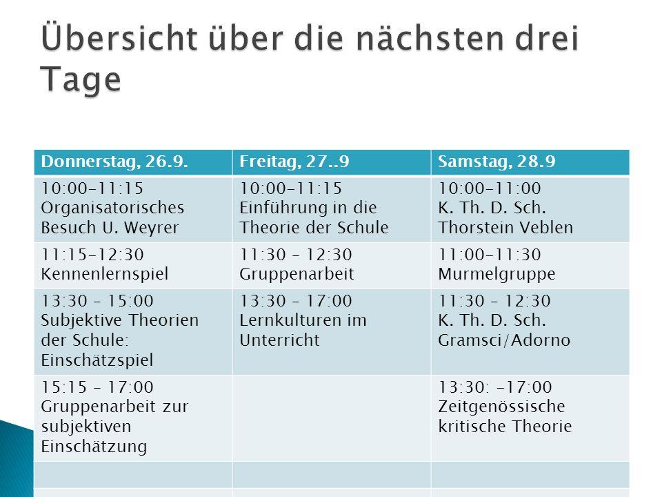 Donnerstag, 26.9.Freitag, 27..9Samstag, 28.9 10:00-11:15 Organisatorisches Besuch U. Weyrer 10:00-11:15 Einführung in die Theorie der Schule 10:00-11: