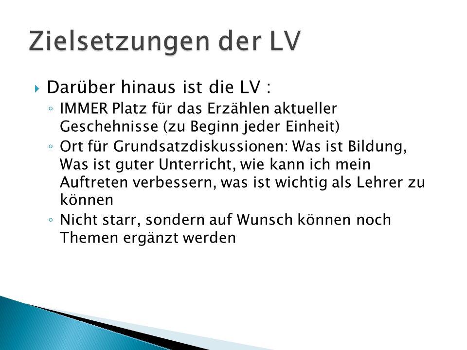 Darüber hinaus ist die LV : IMMER Platz für das Erzählen aktueller Geschehnisse (zu Beginn jeder Einheit) Ort für Grundsatzdiskussionen: Was ist Bildu