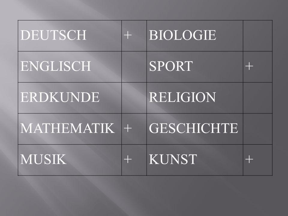 DEUTSCH + BIOLOGIE ENGLISCHSPORT + ERDKUNDERELIGION MATHEMATIK + GESCHICHTE MUSIK+KUNST+