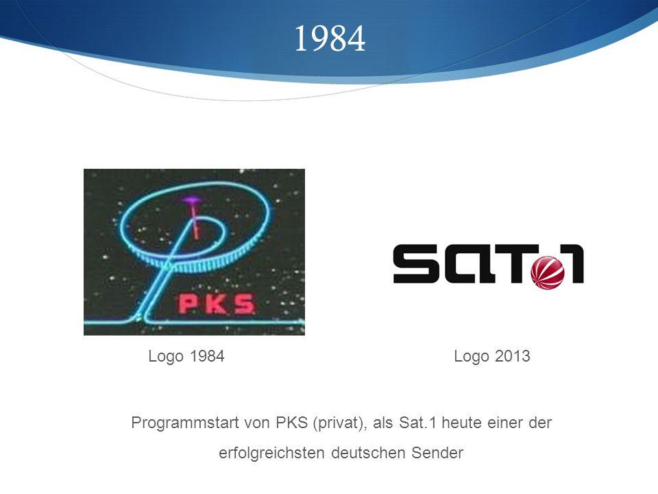 1984 Programmstart von PKS (privat), als Sat.1 heute einer der erfolgreichsten deutschen Sender Logo 1984 Logo 2013