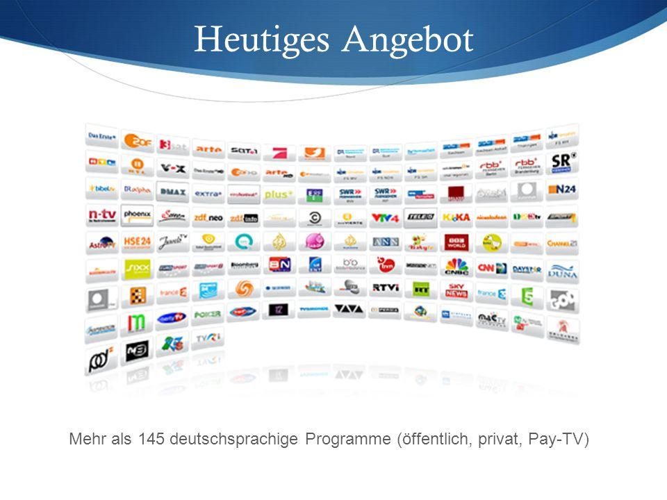 Mehr als 145 deutschsprachige Programme (öffentlich, privat, Pay-TV) Heutiges Angebot