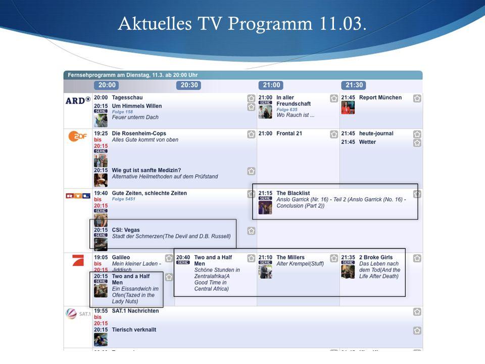 Aktuelles TV Programm 11.03.
