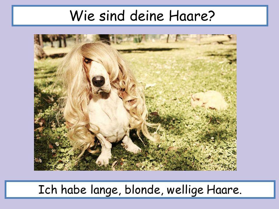Wie sind deine Haare? Ich habe lange, blonde, wellige Haare.