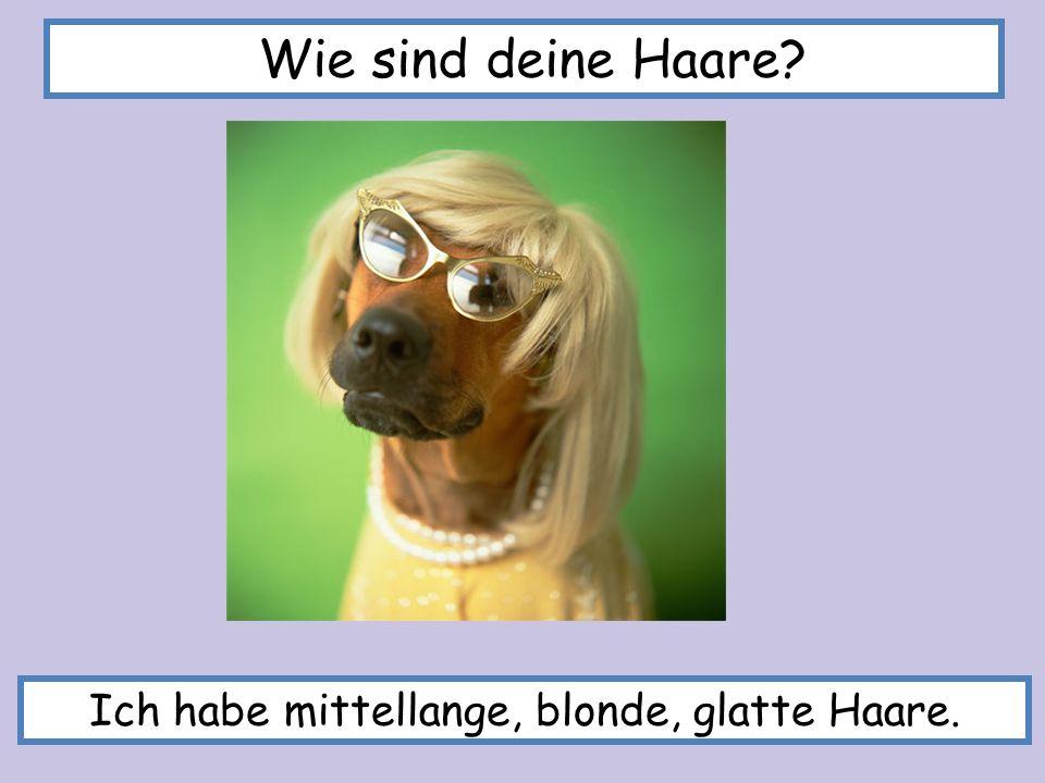 Ich habe mittellange, blonde, glatte Haare. Wie sind deine Haare?