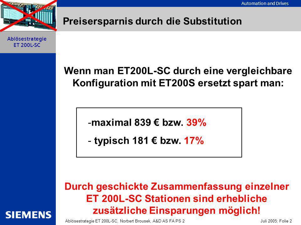 Automation and Drives Ablösestrategie ET 200L-SC, Norbert Brousek, A&D AS FA PS 2 Juli 2005; Folie 2 Ablösestrategie ET 200L-SC Preisersparnis durch die Substitution Wenn man ET200L-SC durch eine vergleichbare Konfiguration mit ET200S ersetzt spart man: -maximal 839 bzw.