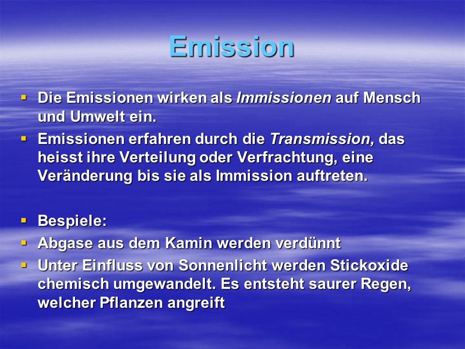 Emission Die Emissionen wirken als Immissionen auf Mensch und Umwelt ein.
