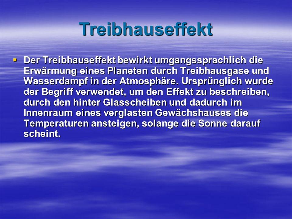 Treibhauseffekt Der Treibhauseffekt bewirkt umgangssprachlich die Erwärmung eines Planeten durch Treibhausgase und Wasserdampf in der Atmosphäre.