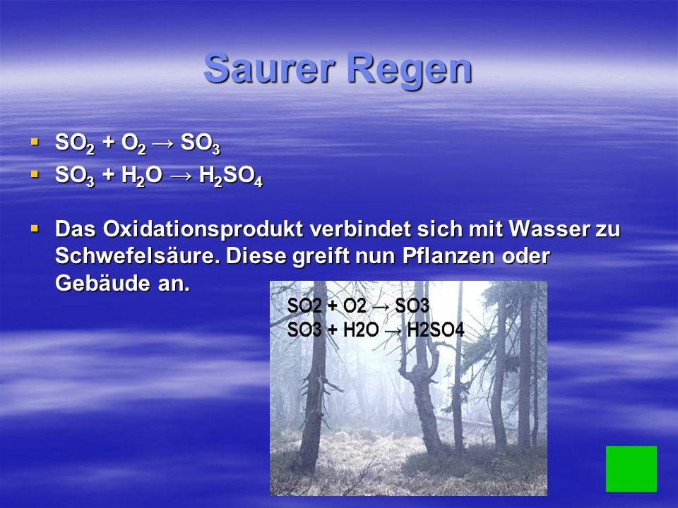 Saurer Regen SO 2 + O 2 SO 3 SO 2 + O 2 SO 3 SO 3 + H 2 O H 2 SO 4 SO 3 + H 2 O H 2 SO 4 Das Oxidationsprodukt verbindet sich mit Wasser zu Schwefelsäure.