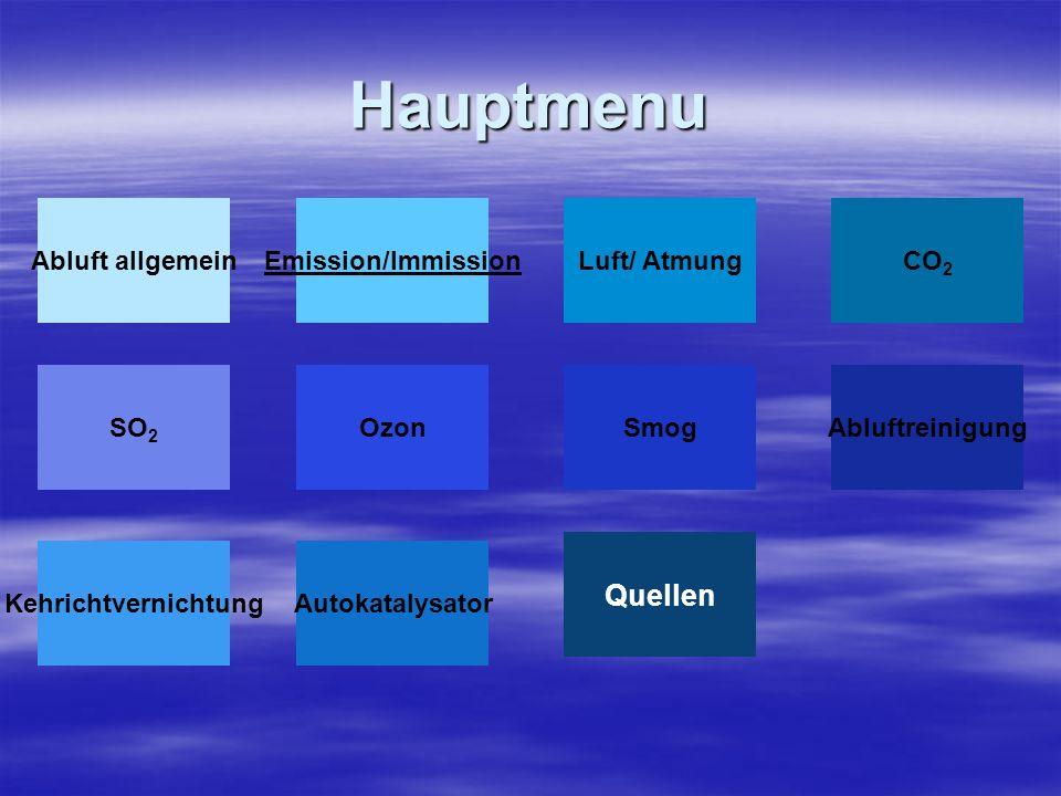 Hauptmenu Emission/ImmissionLuft/ Atmung Smog Abluft allgemein Ozon CO 2 AbluftreinigungSO 2 KehrichtvernichtungAutokatalysator Quellen