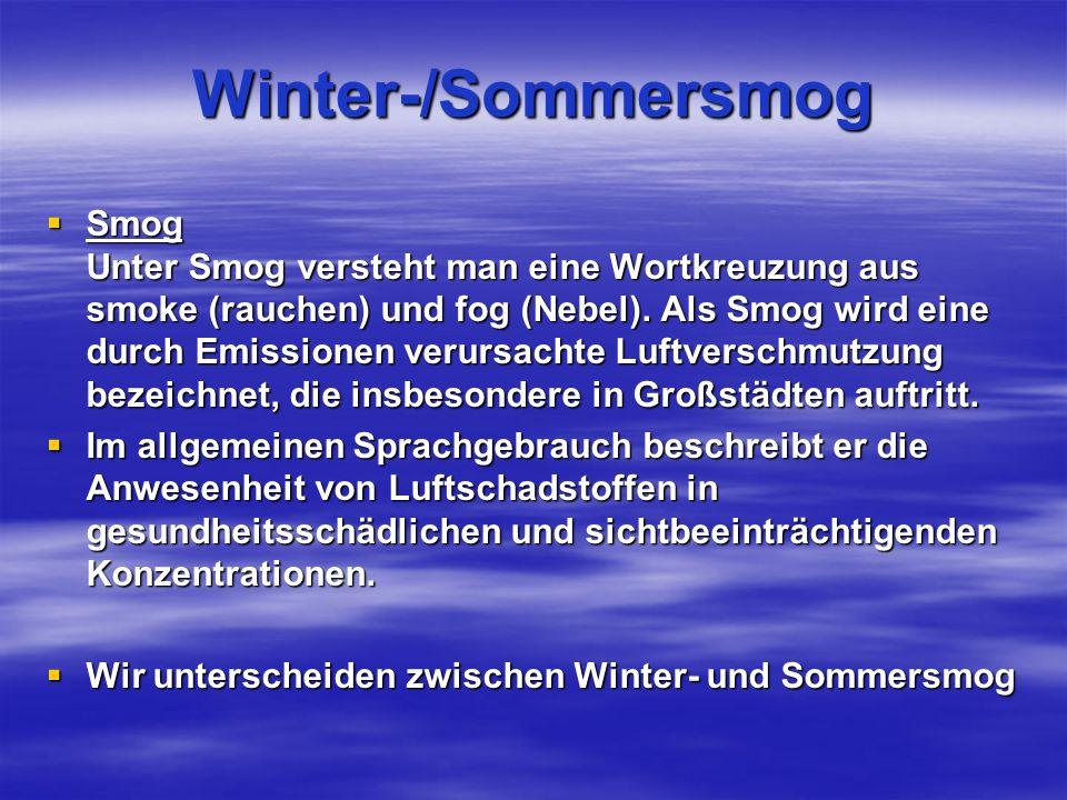 Winter-/Sommersmog Smog Unter Smog versteht man eine Wortkreuzung aus smoke (rauchen) und fog (Nebel).