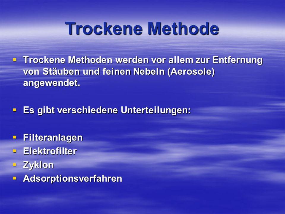 Trockene Methode Trockene Methoden werden vor allem zur Entfernung von Stäuben und feinen Nebeln (Aerosole) angewendet.