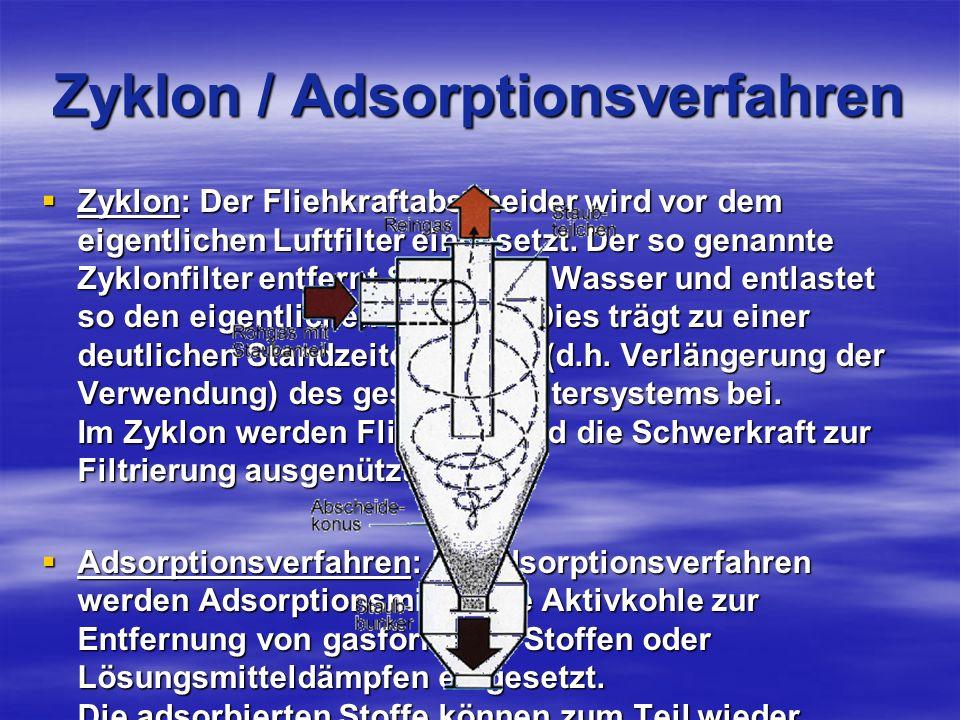 Zyklon / Adsorptionsverfahren Zyklon: Der Fliehkraftabscheider wird vor dem eigentlichen Luftfilter eingesetzt.