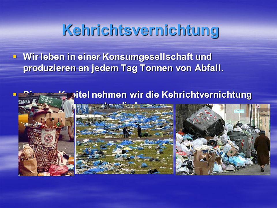Kehrichtsvernichtung Wir leben in einer Konsumgesellschaft und produzieren an jedem Tag Tonnen von Abfall.