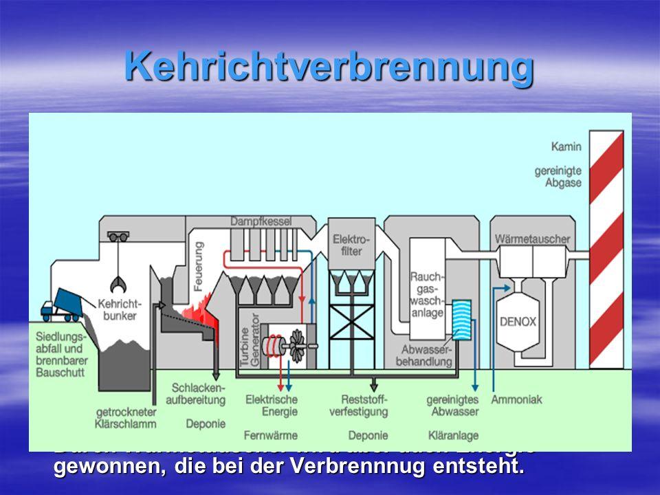 Kehrichtverbrennung Die Kehrichtverbrennung stellt die üblichste Vernichtung von Abfall dar und ist eine Verbrennungsanlage.