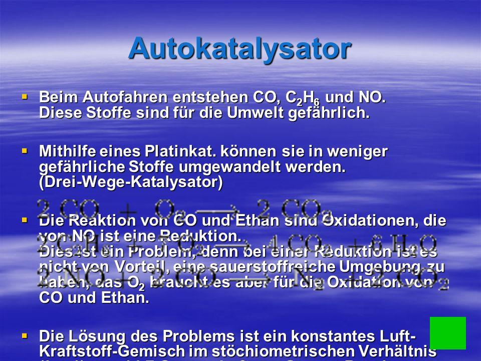 Autokatalysator Beim Autofahren entstehen CO, C 2 H 6 und NO.