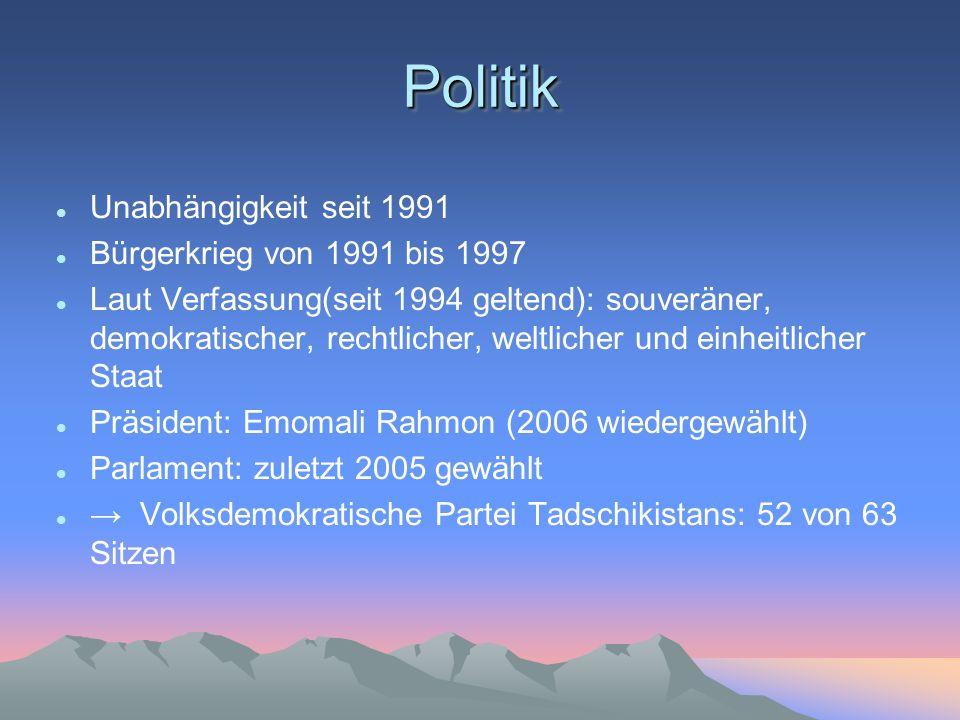PolitikPolitik Unabhängigkeit seit 1991 Bürgerkrieg von 1991 bis 1997 Laut Verfassung(seit 1994 geltend): souveräner, demokratischer, rechtlicher, wel