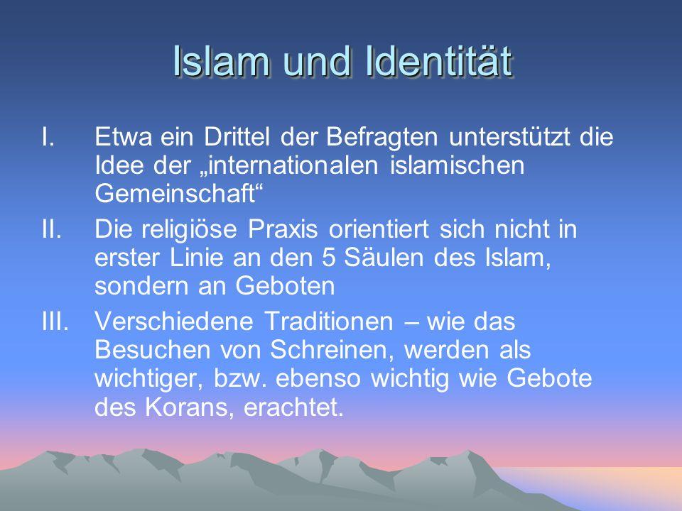 I.Etwa ein Drittel der Befragten unterstützt die Idee der internationalen islamischen Gemeinschaft II.Die religiöse Praxis orientiert sich nicht in er