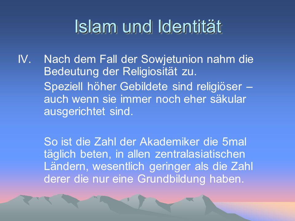 Islam und Identität IV.Nach dem Fall der Sowjetunion nahm die Bedeutung der Religiosität zu. Speziell höher Gebildete sind religiöser – auch wenn sie