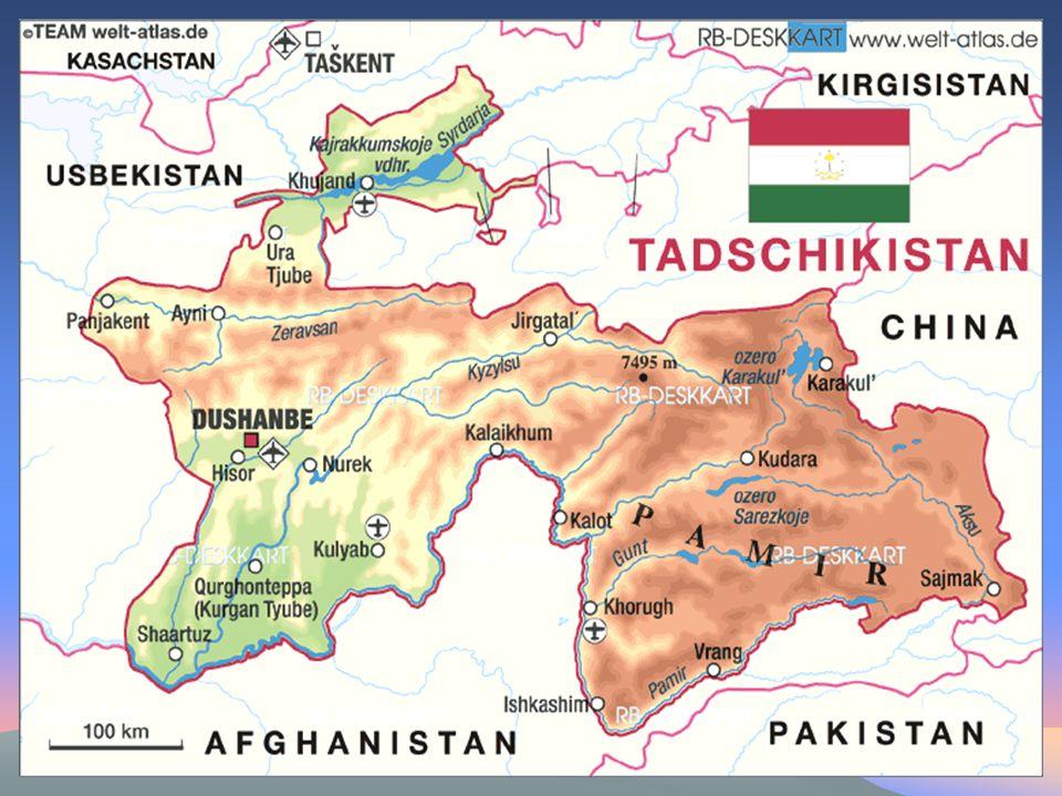 GeographieGeographie Hochgebirgsland ( 90 % über 3000m) Hochgebirgsland ( 90 % über 3000m) Pamir-Gebirge und Alai-Gebirge Pamir-Gebirge und Alai-Gebirge Tiefland im Ferghanatal Tiefland im Ferghanatal starke Besiedlung in diesem Bereich starke Besiedlung in diesem Bereich Größte Flüsse: Syrdarja und Amudarja Größte Flüsse: Syrdarja und Amudarja