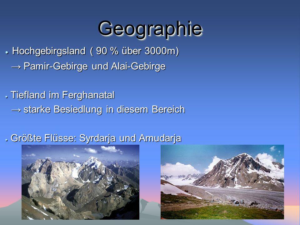 GeographieGeographie Hochgebirgsland ( 90 % über 3000m) Hochgebirgsland ( 90 % über 3000m) Pamir-Gebirge und Alai-Gebirge Pamir-Gebirge und Alai-Gebir