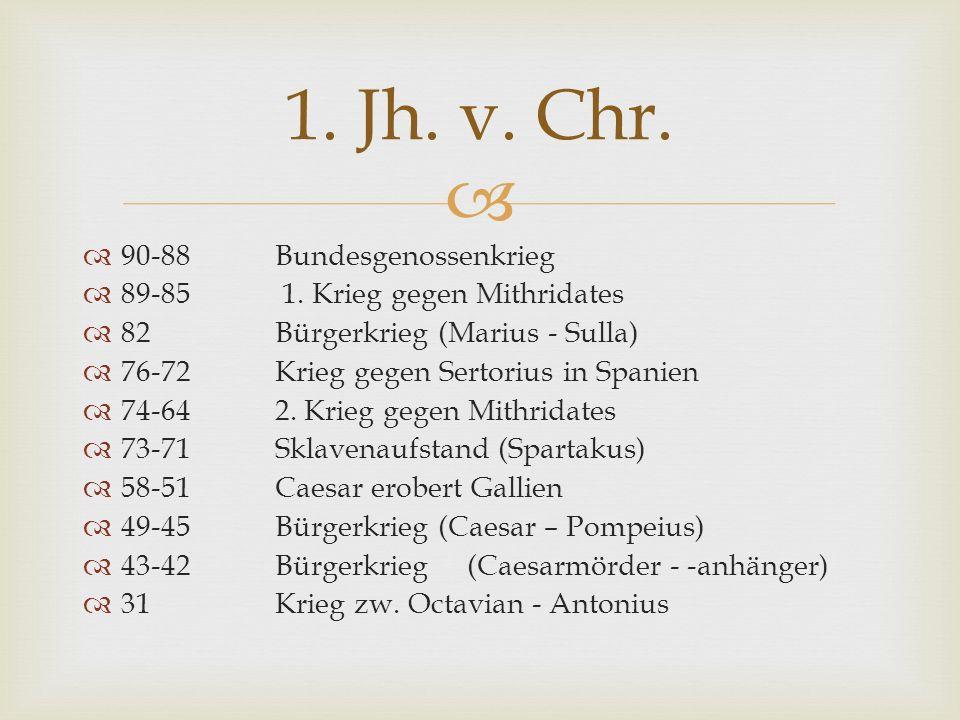 90-88 Bundesgenossenkrieg 89-85 1. Krieg gegen Mithridates 82 Bürgerkrieg (Marius - Sulla) 76-72 Krieg gegen Sertorius in Spanien 74-642. Krieg gegen