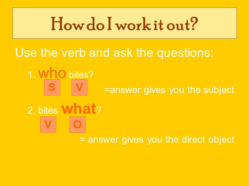 How do I work it out? Use the verb and ask the questions: 1. who bites? =answer gives you the subject 2. bites what ? = answer gives you the direct ob