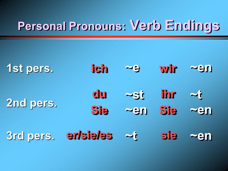Personal Pronouns 1st person 2nd person 3rd person Singular Plural ichwir duihr SieSie er/sie/es sie er/sie/es sie
