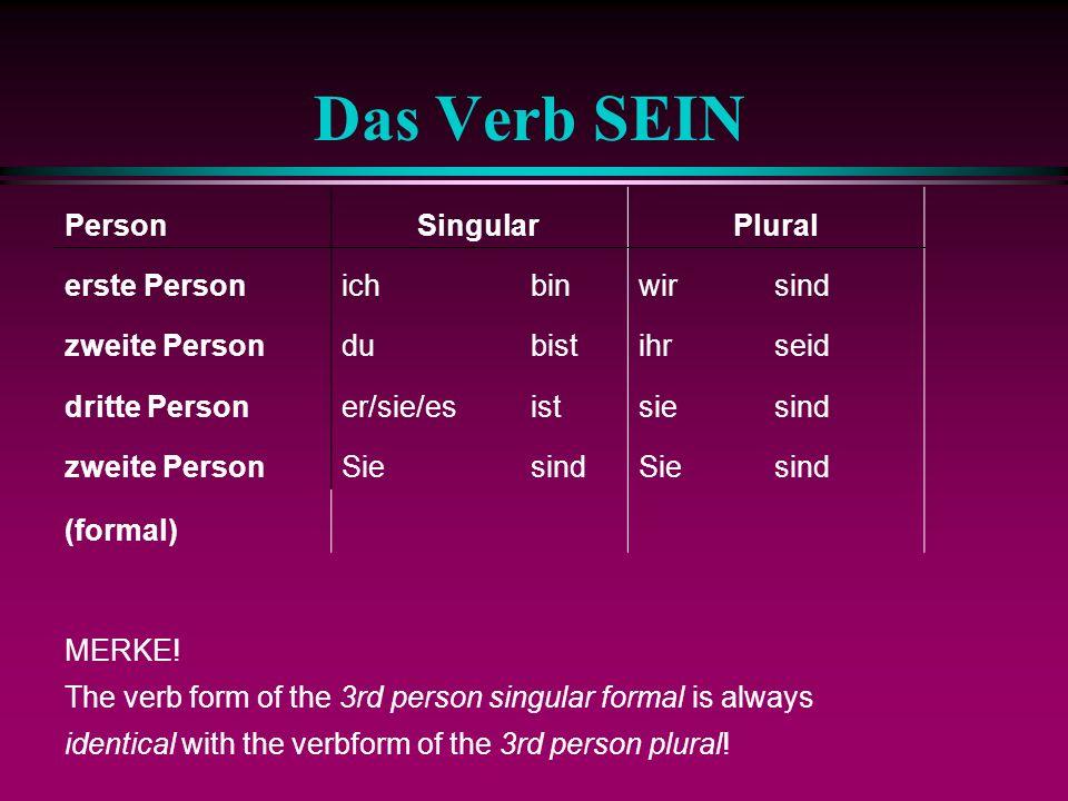 Personal Pronouns (N.) 1st person 2nd person 3rd person Singular Plural ichwir duihr SieSie er/sie/es sie er/sie/es sie