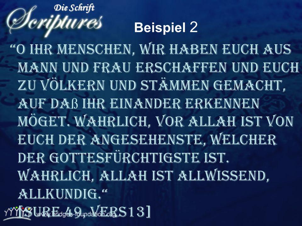 Beispiel Im Namen ALLAHs, des Allerbarmers, des Barmherzigen 1. Alles Lob gebührt ALLAH, dem Herrn der Welten, 2. dem Allerbarmer, dem Barmherzigen, 3