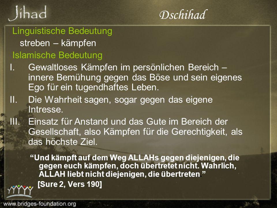 Dschihad im Vergleich zu Frieden