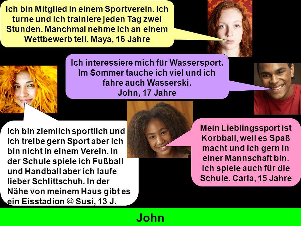 Sport treiben Mitglied sein der Verein teilnehmen – Ich nehme..teil der Wettbewerb Ich interessiere mich für... lieber am liebsten to do sport to be a