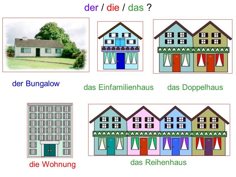 das Einfamilienhausdas Doppelhaus die Wohnung das Reihenhaus der Bungalow der / die / das ?