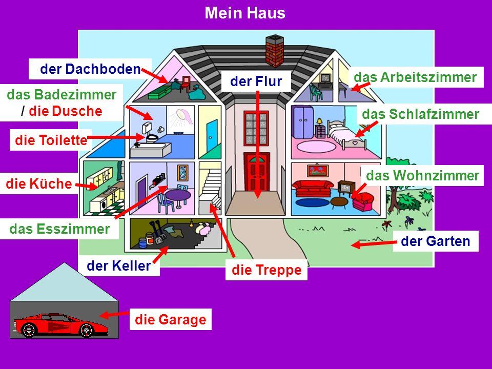 der Keller der Dachboden das Schlafzimmer der Flur das Esszimmer der Garten die Küche das Wohnzimmer das Badezimmer / die Dusche die Treppe das Arbeit
