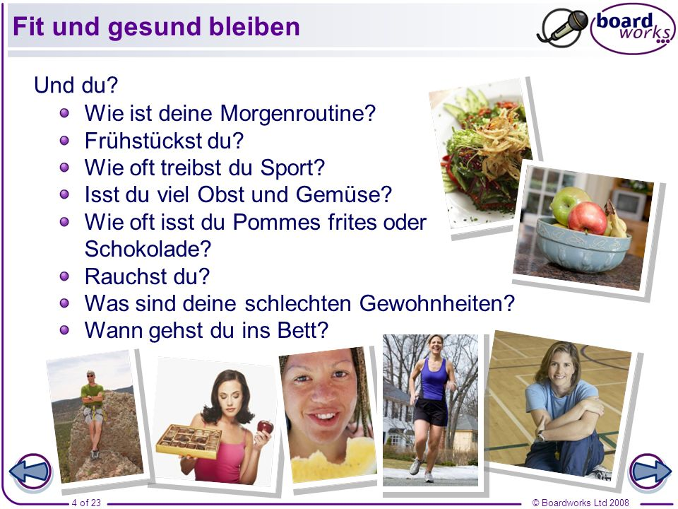 © Boardworks Ltd 20083 of 23 Wie kann man fit bleiben (vocabulary extension)