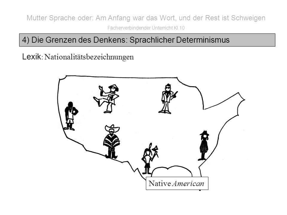 Mutter Sprache oder: Am Anfang war das Wort, und der Rest ist Schweigen Fächerverbindender Unterricht Kl.10 4) Die Grenzen des Denkens: Sprachlicher Determinismus Lexik : Nationalitätsbezeichnungen Native American