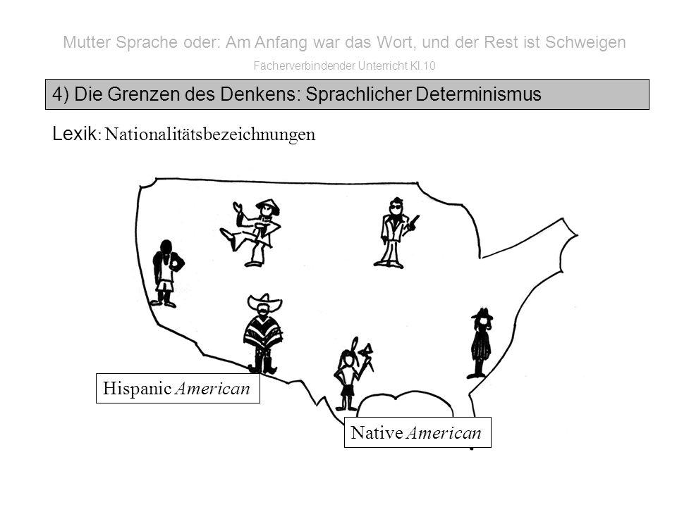 Mutter Sprache oder: Am Anfang war das Wort, und der Rest ist Schweigen Fächerverbindender Unterricht Kl.10 4) Die Grenzen des Denkens: Sprachlicher Determinismus Lexik : Nationalitätsbezeichnungen Native American Hispanic American