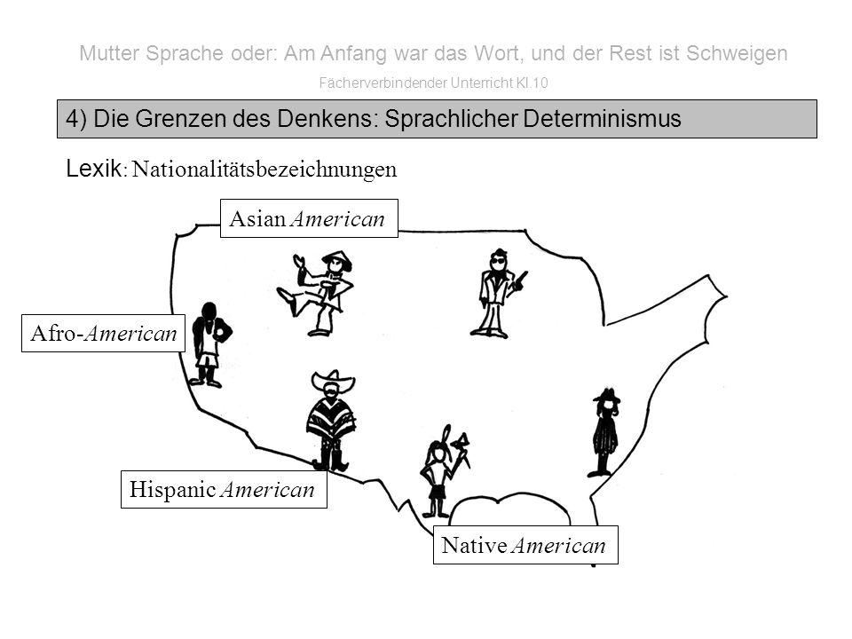 Mutter Sprache oder: Am Anfang war das Wort, und der Rest ist Schweigen Fächerverbindender Unterricht Kl.10 4) Die Grenzen des Denkens: Sprachlicher Determinismus Lexik : Nationalitätsbezeichnungen Native American Hispanic American Afro-American Asian American