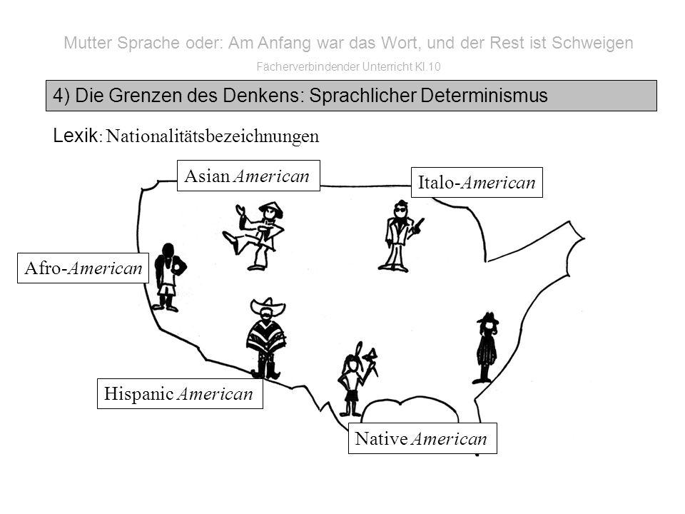 Mutter Sprache oder: Am Anfang war das Wort, und der Rest ist Schweigen Fächerverbindender Unterricht Kl.10 4) Die Grenzen des Denkens: Sprachlicher Determinismus Lexik : Nationalitätsbezeichnungen Italo-American Native American Hispanic American Afro-American Asian American