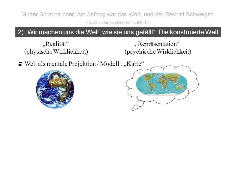 Realität Repräsentation (physische Wirklichkeit) (psychische Wirklichkeit) Welt als mentale Projektion / Modell : Karte 2) Wir machen uns die Welt, wie sie uns gefällt: Die konstruierte Welt Mutter Sprache oder: Am Anfang war das Wort, und der Rest ist Schweigen Fächerverbindender Unterricht Kl.10