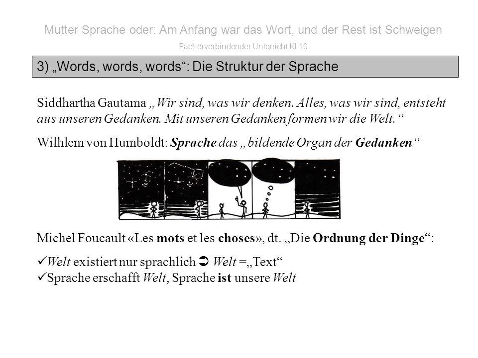 3) Words, words, words: Die Struktur der Sprache Siddhartha Gautama Wir sind, was wir denken.