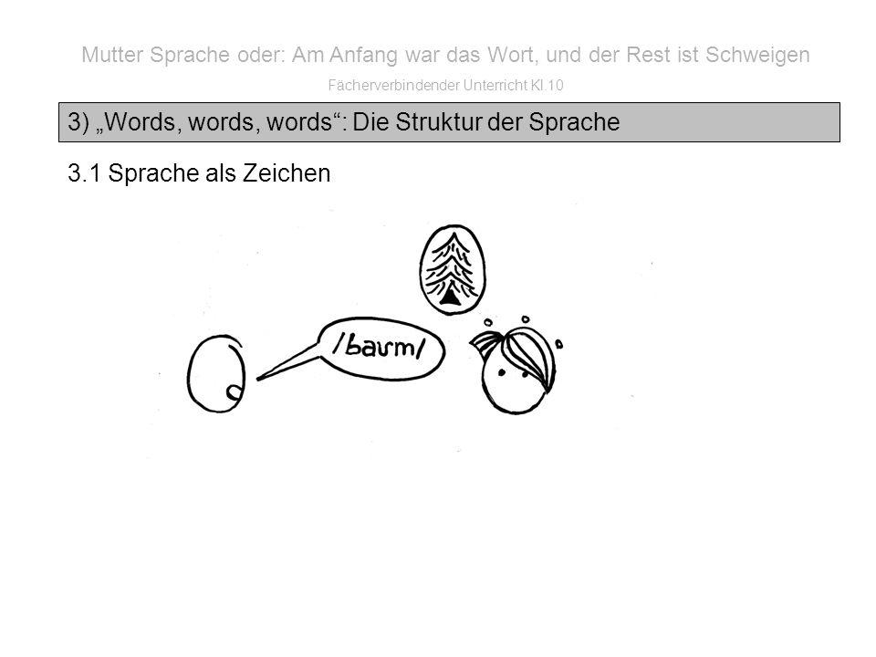 3) Words, words, words: Die Struktur der Sprache Mutter Sprache oder: Am Anfang war das Wort, und der Rest ist Schweigen Fächerverbindender Unterricht Kl.10 3.1 Sprache als Zeichen