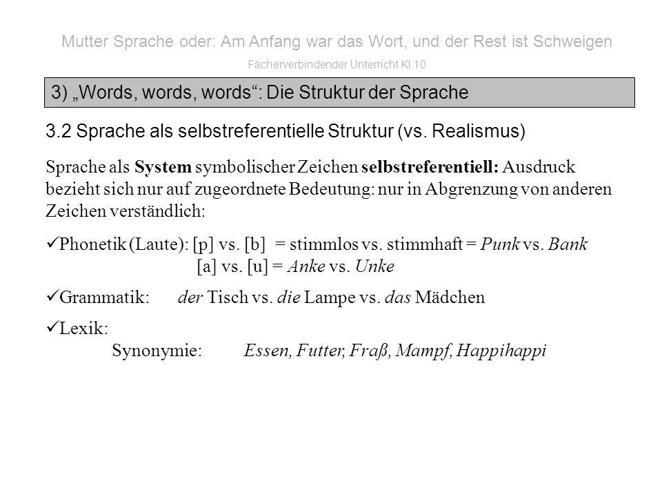 3) Words, words, words: Die Struktur der Sprache Mutter Sprache oder: Am Anfang war das Wort, und der Rest ist Schweigen Fächerverbindender Unterricht Kl.10 3.2 Sprache als selbstreferentielle Struktur (vs.
