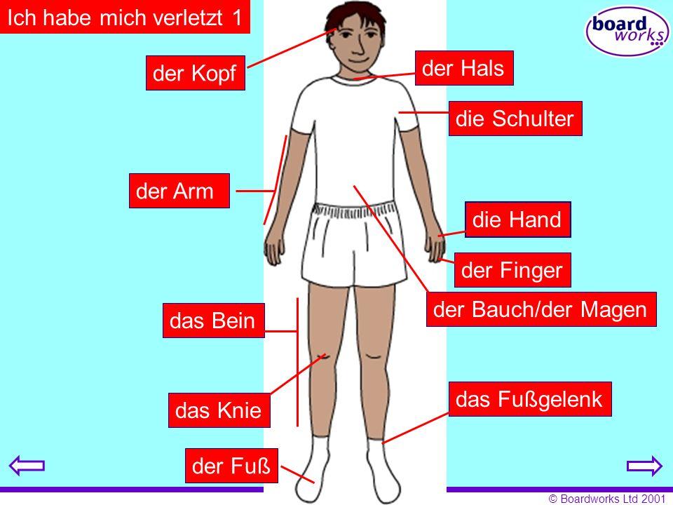 © Boardworks Ltd 2001 Ich habe mich verletzt 1 der Kopf der Halsdie Schulter der Arm die Hand der Finger der Bauch/der Magen das Bein das Fußgelenk da