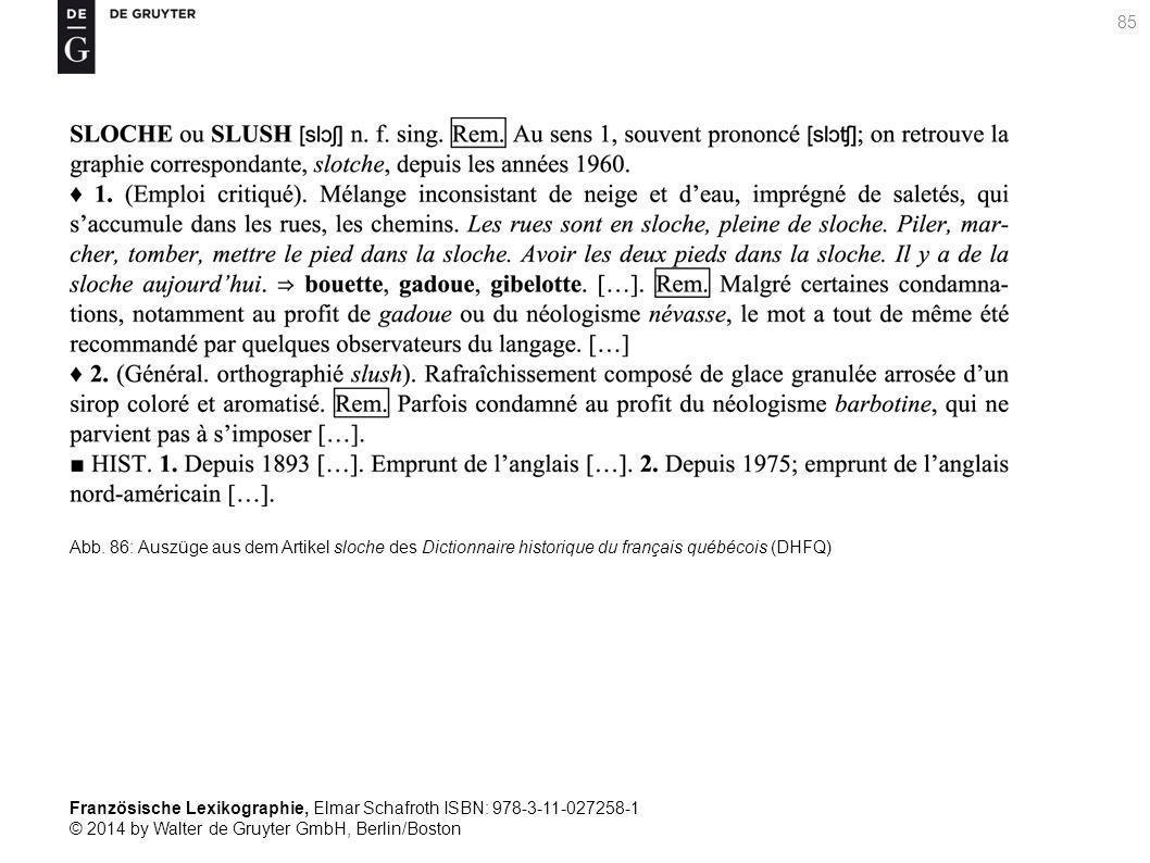 Französische Lexikographie, Elmar Schafroth ISBN: 978-3-11-027258-1 © 2014 by Walter de Gruyter GmbH, Berlin/Boston Abb.