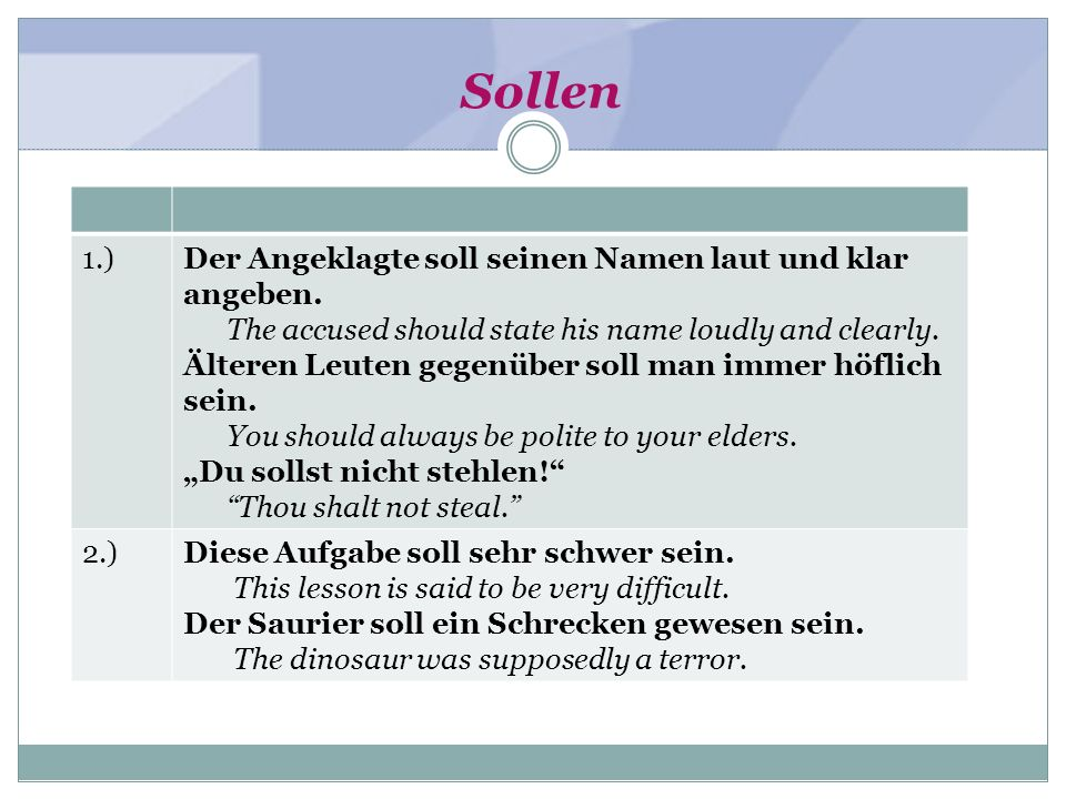 Sollen 1.)Der Angeklagte soll seinen Namen laut und klar angeben. The accused should state his name loudly and clearly. Älteren Leuten gegenüber soll